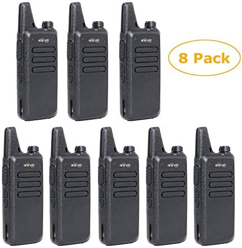 HESENATE HT-U222 Long Range 3-Watt Uhf 400-470Mhz 70cm 16-Channel Portable FRS GMRS Two-Way Radio Vox Rechargeable 1500mAh Li-Ion Battery Walkie Talkies Pack of 8