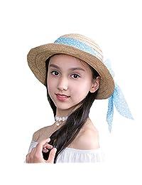 Straw Panama Hat Girls Children Babies Floating Flowers Ribbon Summer Sun Hat