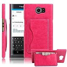 Fettion Blackberry Priv Case, Premium PU Leather Wallet Cases Flip Cover with Stand Card Holder for Blackberry Priv 2015 Smartphone (Bracket - Rose)