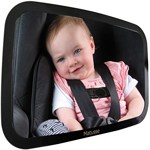 Baby Backseat Mirror For Car - Largest and Most Stable Mirror - Crystal Clear View of Infant in Rear Facing Car Seat - Safe, Secure and Shatterproof - Very Popular Baby Registry or Baby Shower Gift (Popular Items)