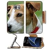 Luxlady Premium Samsung Galaxy S7 Flip Pu Wallet Case Smooth coated Parson Jack Russell Terrier portrait IMAGE ID 5077979