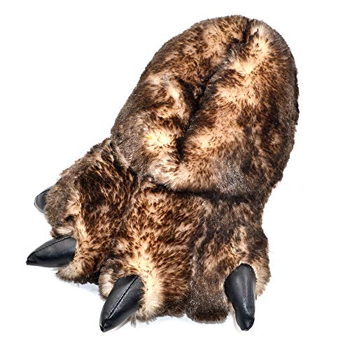 Millffy Funny Slippers Grizzly Bear Stuffed Animal Claw Paw Slippers Toddlers Costume Footwear (Small/Medium - (Kids Size), Brown Tip Claw) -