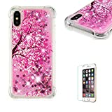Funyye Liquid Glitter Case for iPhone XR,Luxury Sparkly Floating Water Liquid Transparent Silicone TPU Case for iPhone XR,Ultra Thin Crystal Rubber Durable Shell Bumper Back Protective Case for iPhone XR + 1 x Free Screen Protector,Pink Sakura