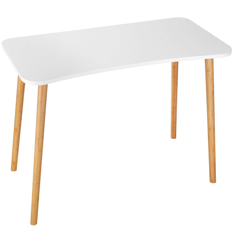 Homfa Schreibtisch weiß 100x50x75,5cm Konferenztisch Computertisch Esstisch Küchentisch Esszimmertisch Arbeitstisch Bürotisch holz Nordischen Stil modern