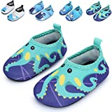 baby beach gear - JIASUQI Baby Boys and Girls Barefoot Swim Water Skin Shoes Aqua Socks for Beach Swim Pool (18-24 Months (Sole length 5.6 inches), Green/Octopus)