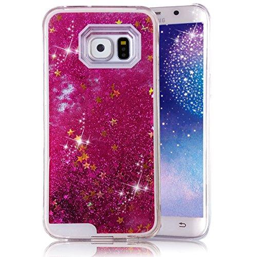 Samsung GALAXY S6 Glitter Stars Case, Crazy Panda S6 liquid Case 3D Creative Design Hard Shell Liquid Glitter Case Glamour Sparkle Stars Hard Case Cover For S6 (1# hot pink) Crazy Panda