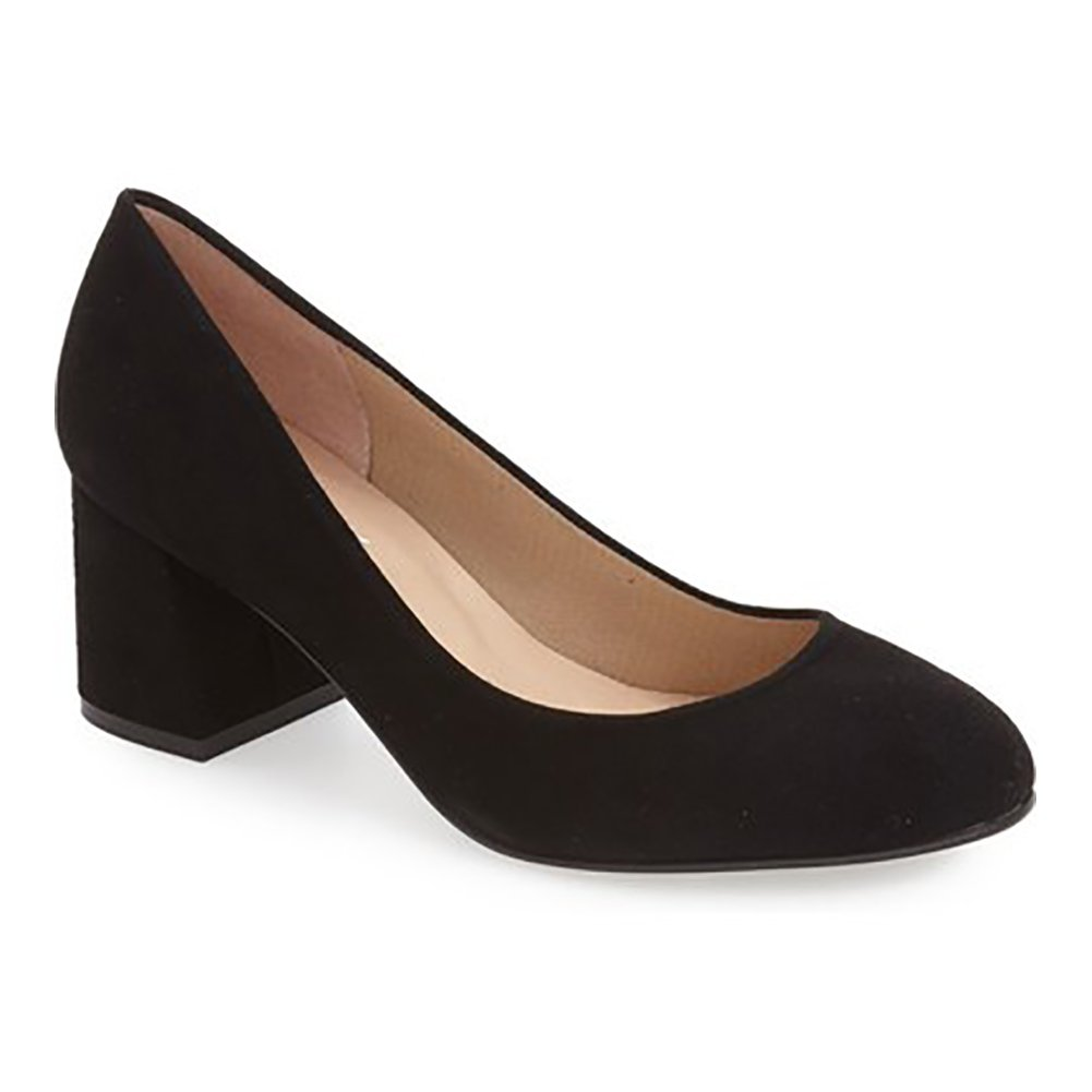 French Sole Womens Trance Suede Round Toe Classic Pumps B01DOVNNMS 11 B(M) US Black Suede