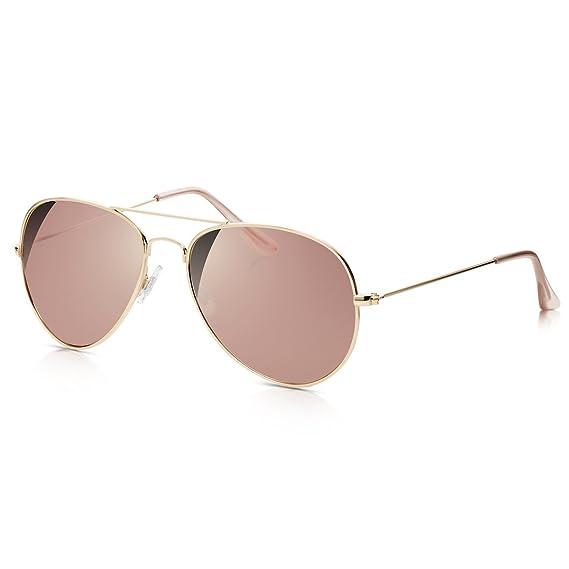 Sunglass Junkie Lunettes de Soleil Top Gun Aviator unisexes couleur or rose  avec verres or roses 3016da917021