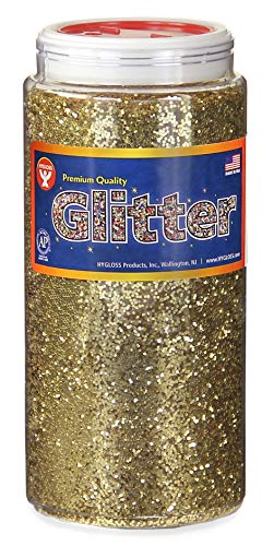 Hygloss Products Sparkling Glitter - Arts & Crafts - Variety of Uses - Fun for Slime - Gold - Safe & Non-Toxic - 1 Bottle, 16 0z each