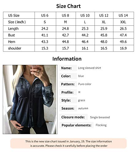 316ab298b HaoDuoYi Womens Simple Velvet Boyfriend Button Down Long Sleeve Top Shirt