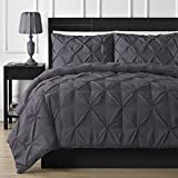 What Is an Eastern King Size Bed Luxurious 600 Thread Counts 5 Piece Pinch Pleated Duvet Cover Set Stain Resistant and Hypoallergenic 100% Egyptian Cotton (Eastern King Size, Elephant/Dark Grey)- by AP Beddings