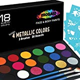 Face Paint Kit Non-Grease 18 Colors Including 4 Metallic 3 Brushes 30 Stencils Face Paints Body Paint Palette Kids Safe Face Painting Supplies Halloween Makeup Facepaint Makeup Costume Birthday Party