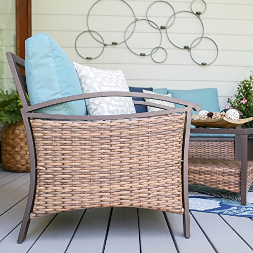 Amazon.com: Leisure Made 4 Piece Thompson Wicker Seating, Blue ...