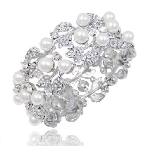 EVER-FAITH-Flower-Ivory-Color-Cream-Simulated-Pearl-Bracelet-Clear-Austrian-Crystal