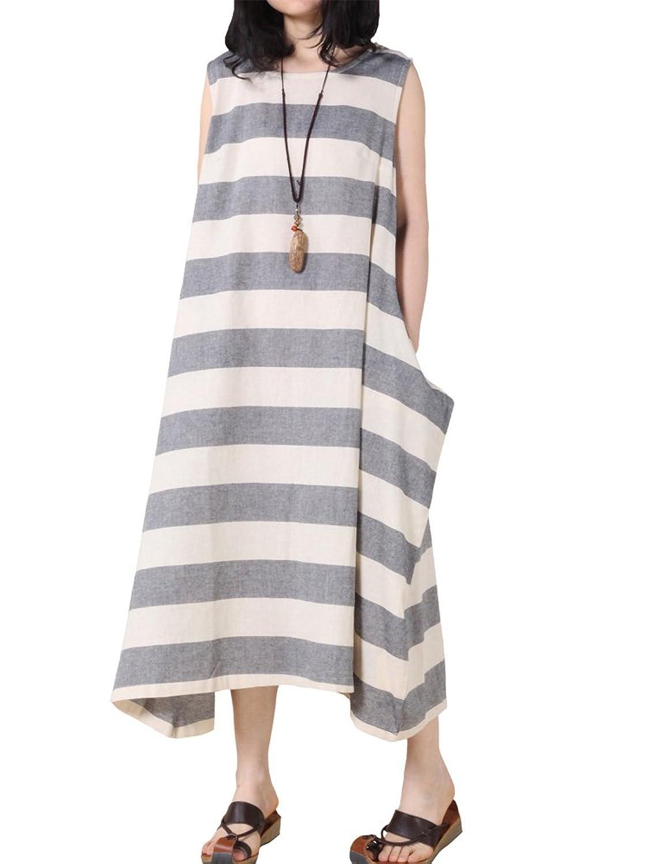 MatchLife Damen Ohne Arm Freizeitkleider Streifen Kleider