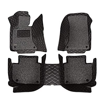 AOYMEI Car Floor Mats for 2012-2020 Dodge Ram Crew Cab Double Layer Leather Fully Surrounded Removable Wire Loop All-Weather Waterproof Car Mats (Black 1): Automotive