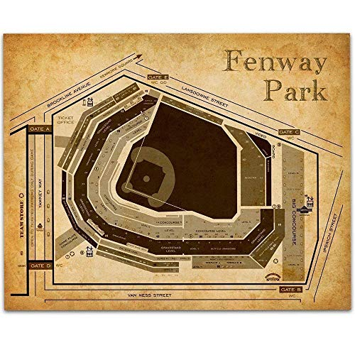Fenway Park Baseball Seating Chart - 11x14 Unframed Art Print - Great Sports Bar Decor and Gift Under $15 for Baseball - Stadium Personalized Print