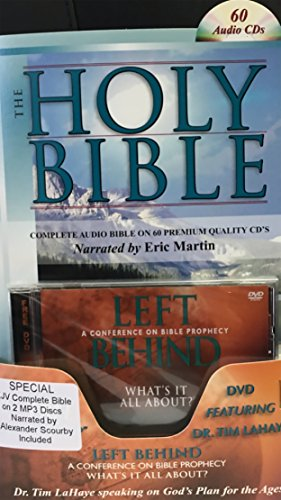 2 Complete King James Version Audio Bibles in one Product! -60 CD Discs Narrated by Eric Martin and 2 MP3CDs narrated by Alexander Scourby.All 66 ... ... Complete Old and New Testaments on 60 CDs by Casscom Media