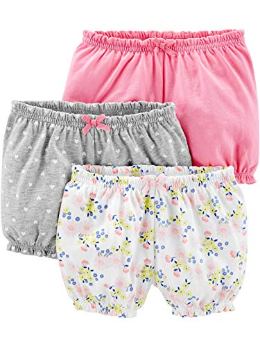 (Simple Joys by Carter's Girls' 3-Pack Bloomer Short, Pink/Grey/Floral, 12 Months)