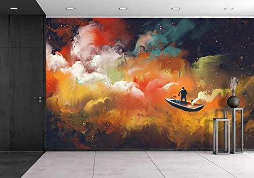 Man on a Boat in the Outer Space with Colorful Cloud Illustration