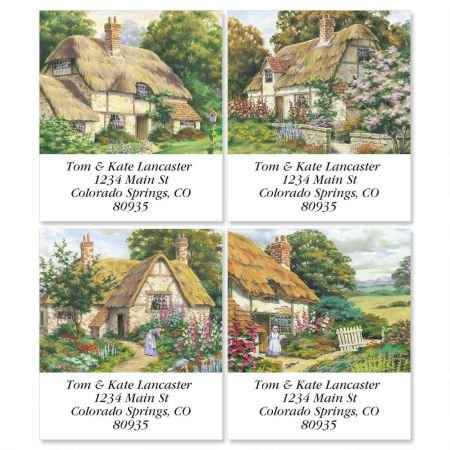 (Peaceful Cottage Square Return Address Labels (4 Designs) - Set of 144 1-1/8