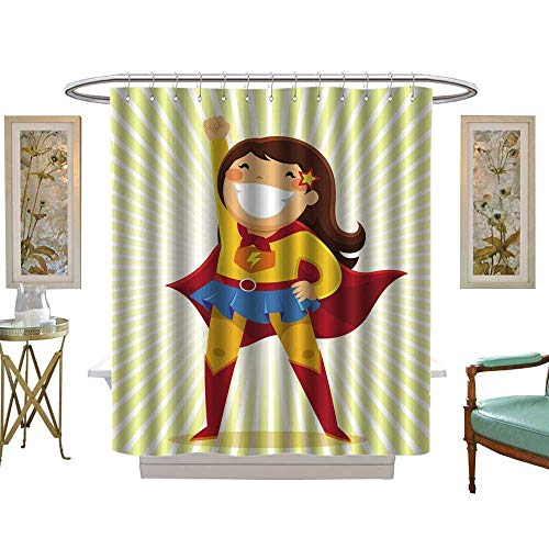 (luvoluxhome Shower Curtains with Shower Hooks Little Girl in a Superhero Costume Standing in a Heroic Position W48 x L72 Satin Fabric Sets)