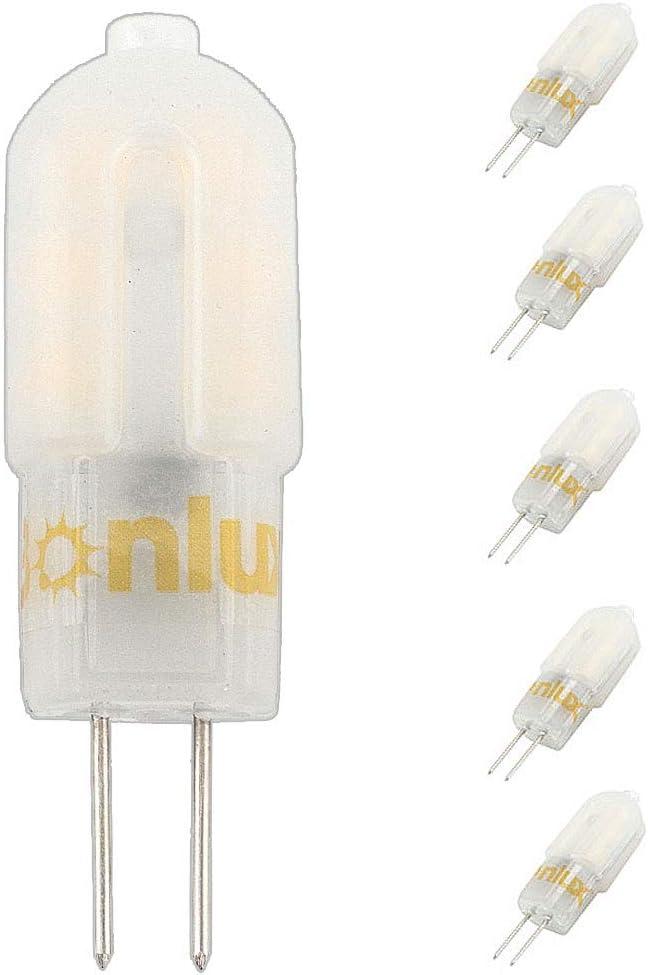 Bonlux 3W G4 12V AC/DC LED Bi-pin Bombilla, SMD 2835, Reemplazo de 25W halógeno bombilla (250 lumenes, Luz Fría 6000K, 360 grados, 5-Unidades)