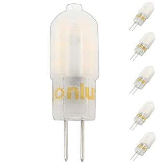 Bonlux 5-Packs 3W 12V LED G4 de dos patillas de la bombilla del blanco