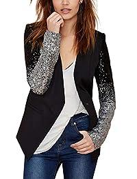 Enlishop Women Formal Sequin Leather Blazer Jacket Cardigan Trench Coat Business Suit
