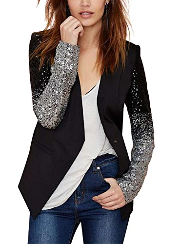Enlishop Women Formal Sequin Leather Blazer Jacket Cardigan Trench Coat Business Suit M Black by Enlishop (Image #4)