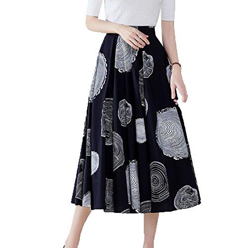 Womens Irrgulire Genou Longueur Jupe Mi-Longue Jupepleatedpour Jupe Taille lastique Femme A-Ligne Blue