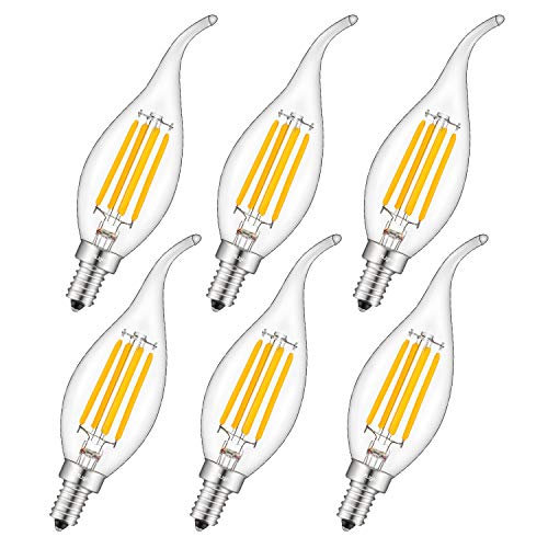 CRLight 3000K Dimmable LED Candelabra Bulb 4W Soft White, 40W Equivalent 400LM E12 Base LED Chandelier Bulbs, C35 Clear Glass Candle Flame Shape, 360 Degree Beam Angle, 6 Pack