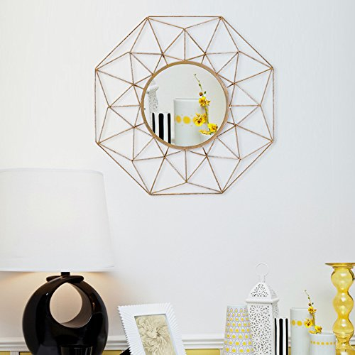 Asense Round Classic Metal Decorative Wall Mirror Home Collection,Gold (Sunburst Mirror Wall Gold)