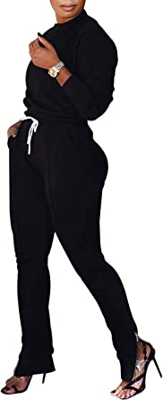 Women Solid 2 Piece Outfits Crew Neck Top and High Waist Slit Pants Sport Jumpsuits Sweatsuit Set