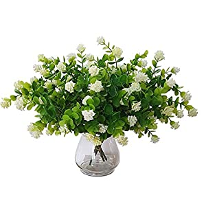 "Artificial Greenery with Roses Farmhouse Decorations Floral CENTERPIECES for Tables Faux Flowers Bulk 4 PCS. 13"" Boxwood SHRUBS White 81"