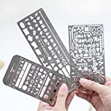 Amytalk Pack of 3 Stainless Steel Drawing Painting Stencils Scale Template Sets Graphics Stencils for Bullet Journal,Scrapbooking, Card and Craft Projects