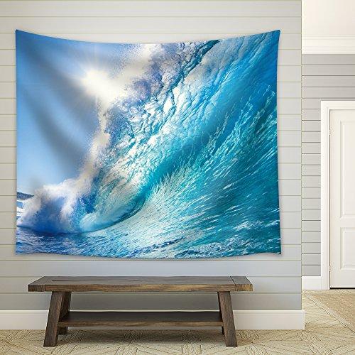 Sun Over a Big Ocean Splashing Wave Fabric Tapestry