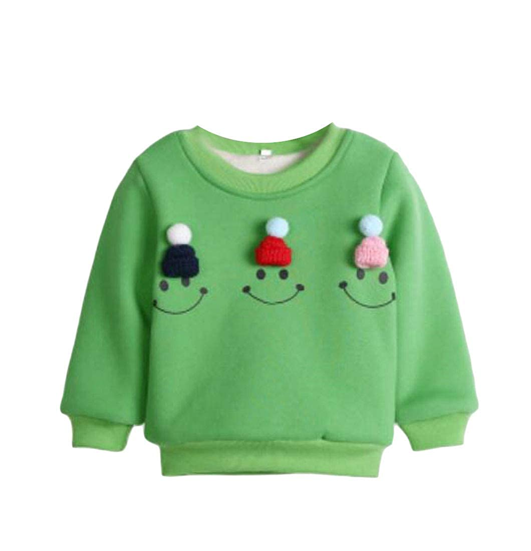 Lutratocro Girls Wool Lined Pullover Cozy Warm Crew Neck Printed Sweatshirts