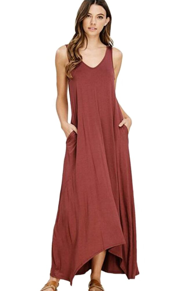Wicky LS Women's Long Sleeve Cotton Maxi s Solid Color Dress Style 2 Rust Red S