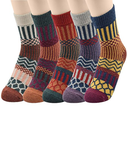 Passionate Adventure Womens Thick Knit Warm Casual Wool Crew Wool Winter Socks 5 Pack - Glove Crew Kids