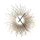 Medusa silver XL - extra large size sunburst clock in shades of silver