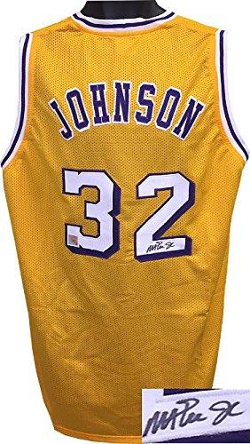 best service dcdc6 76ff0 Magic Johnson Signed Jersey - Gold TB Custom Stitched White ...