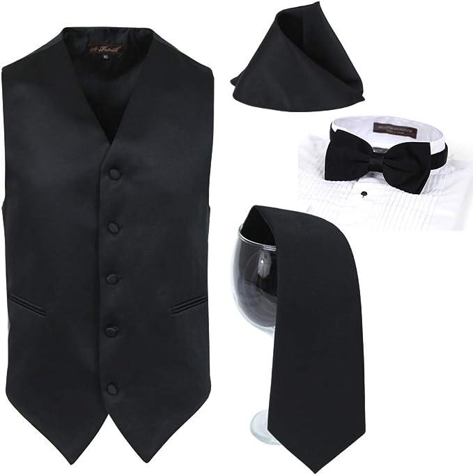 Unisex Men Women Formal Waistcoat Dress Vest /& Neck Tie Hankie Set Wedding Prom