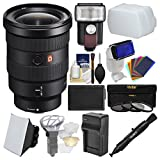 Sony Alpha E-Mount FE 16-35mm f/2.8 GM Zoom Lens with LED Light/Flash + Diffuser + Soft Box + Battery & Charger + 3 UV/CPL/ND8 Filters Kit