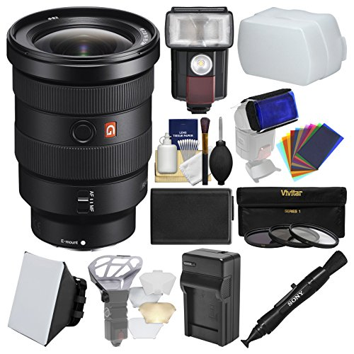 Price comparison product image Sony Alpha E-Mount FE 16-35mm f / 2.8 GM Zoom Lens with LED Light / Flash + Diffuser + Soft Box + Battery & Charger + 3 UV / CPL / ND8 Filters Kit