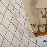 eTRY Embroidered Diamond Lattice Sheer Curtains Faux Linen Rod Pocket Curtain Panels for Bedroom 52 x 96 Inch 1 Panel Coffee For Sale