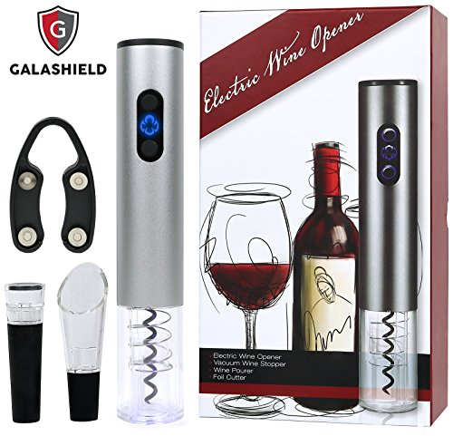 Galashield Electric Wine Bottle Corkscrew Opener Gift Set with Foil Cutter, Wine Pourer and Vacuum Wine Stopper (Stainless Steel) (Bottle Set Wine Opener)