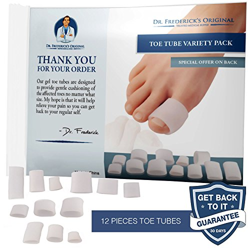 Dr Frederick's Original Gel Toe Tubes 12 Piece Variety Pack - Small, Medium and Large Sizes - Toe Protectors & Separators for Calluses - Blisters - Corns by Dr. Frederick's Original (Image #1)