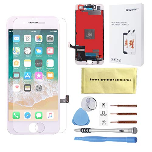 for iPhone 7 Screen Replacement White LCD Display Touch Screen Digitizer Frame Assembly Full Set with Free Tools and Professional Glass Screen Protector for iPhone 7 (4.7 inches) (White)