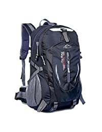AOKE 40L Hiking Bag Unisex Durable Polyester Waterproof Portable Outdoor Rucksack for Cycling Camping Travel Sport Mountaineering Picnic Black
